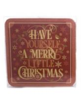 Set Of 4 Boxed Red And Gold Christmas Coasters